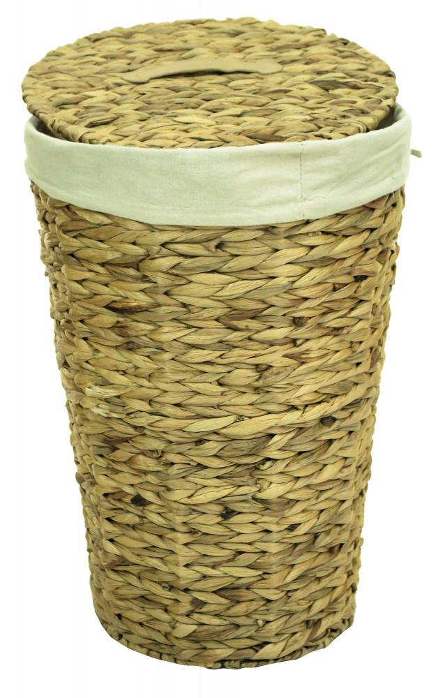 Natural Woven Water Hyacinth Round Lidded Linen Laundry Bin Storage Basket