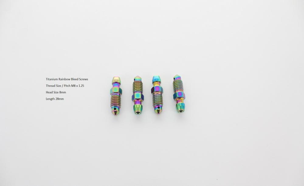2 x Titan Rainbow Entlüftungsschraube M8 x 1.25 brb880100trai KTM