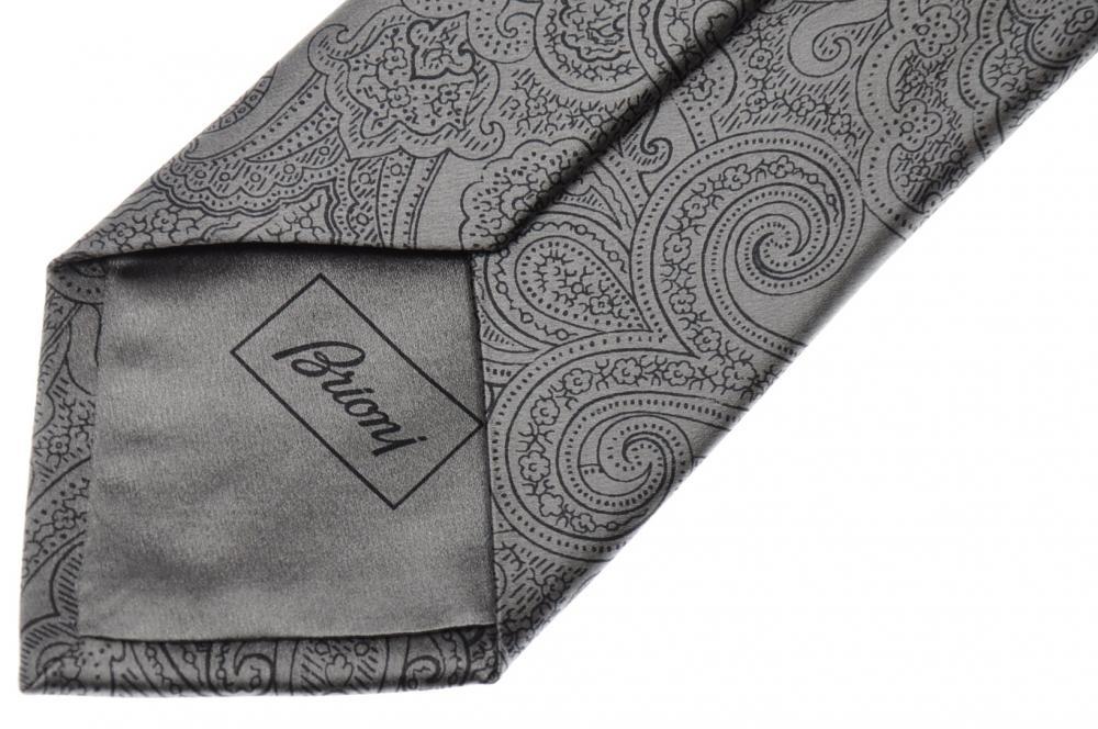 Brioni Tie Silk Dark Navy Blue Gray Geometric 03TI0652 $230