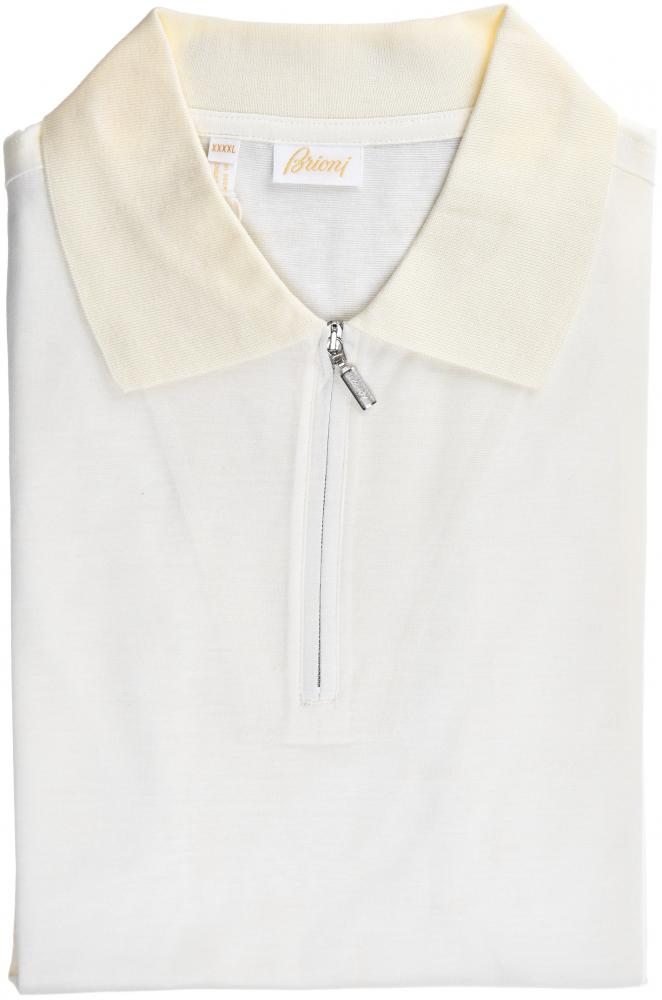 12887aaf498 Details about Brioni Zip Polo Shirt Fine Cotton Size XXLarge Ivory 03PL0229  $495