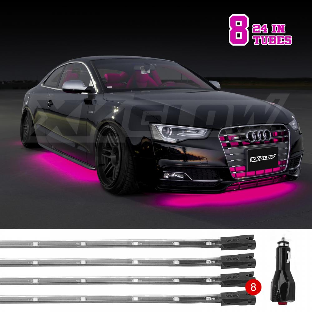 Plugu0026Play 8pc 3 mode underbody undercar car truck neon light kit - PINK LED & Plugu0026Play 8pc 3 mode underbody undercar car truck neon light kit ... azcodes.com
