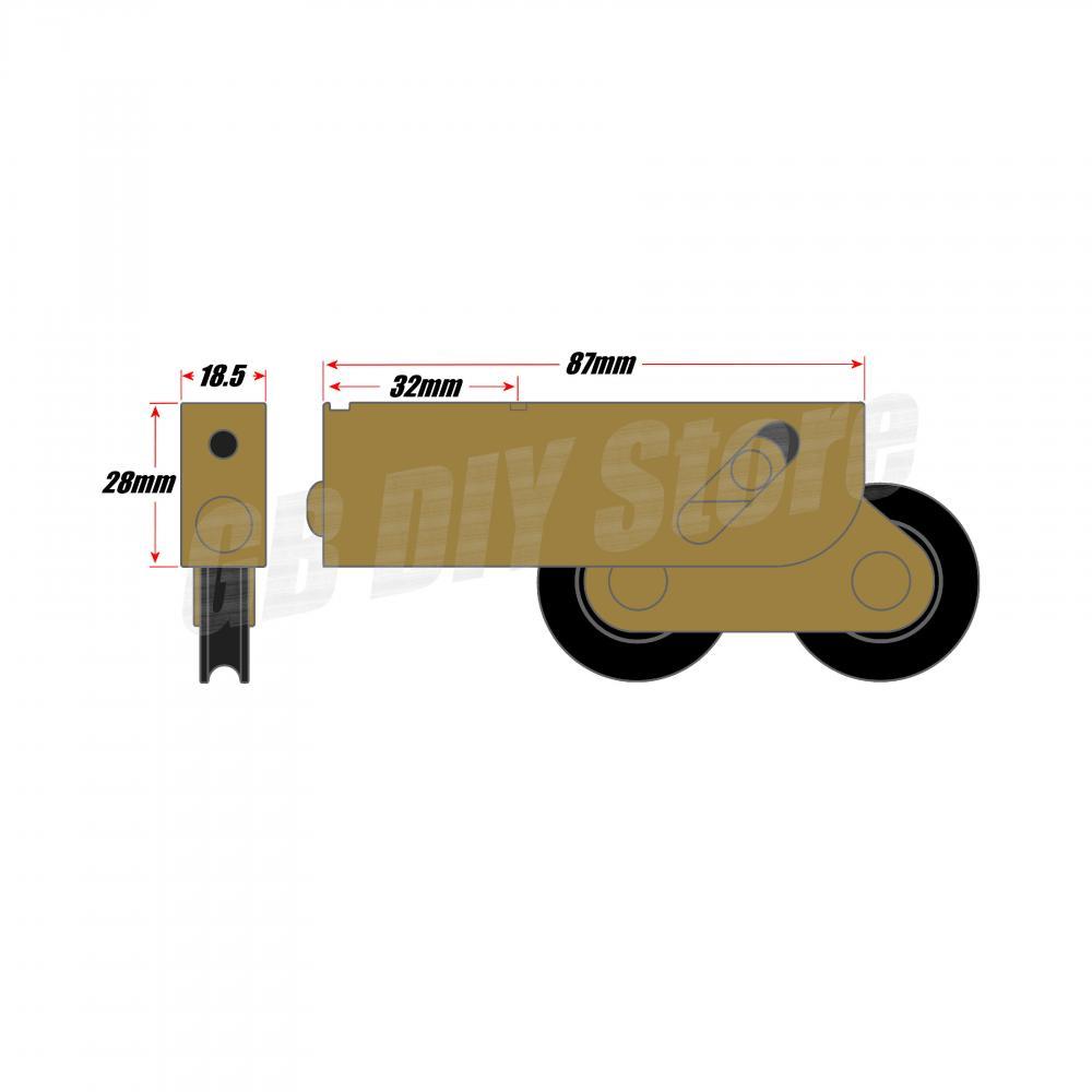 Pair of Tandem Sliding Patio Door Roller Wheels Aluminium Upvc Timber 32mm