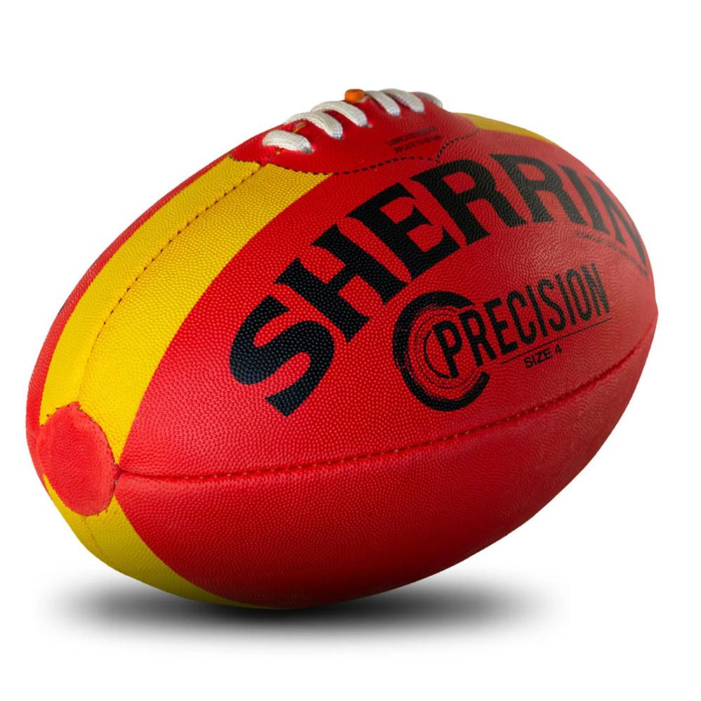 Sherrin Precision Size 4 Afl Football Red With Yellow Ebay