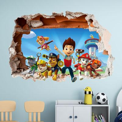 PAW PATROL WALL STICKER 3D BOYS GIRLS BEDROOM VINYL ART DECAL