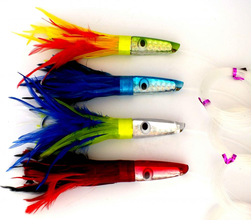 Chomp Lures Resin Head 8 Quot Skirted Feather Fishing Trolling Lures 4 Pack Rigged Ebay
