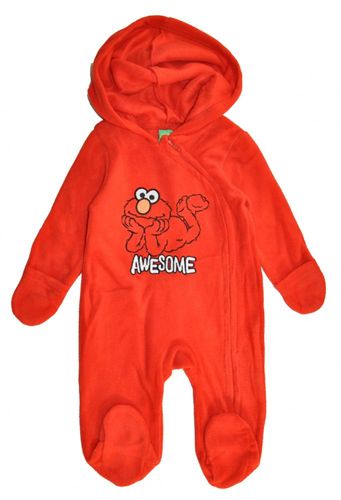 Elmo Infant Boys Red Micro Fleece Coverall Size 0//3M 3//6M 6//9M