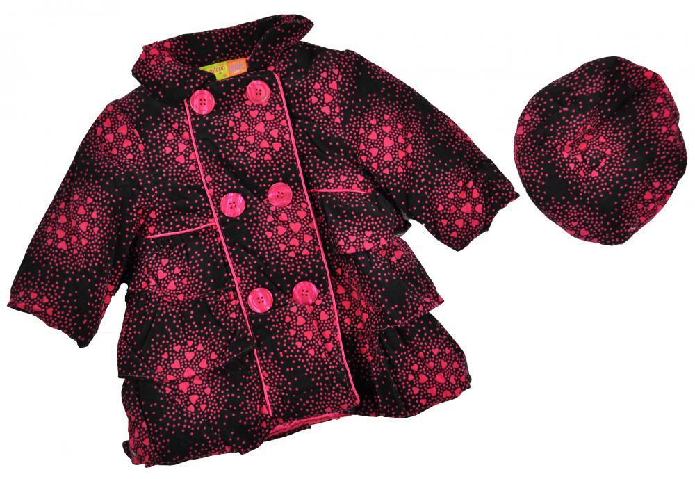 Penelope Mack Toddler Girls Black /& Pink Corduroy Jacket W//Hat Size 2T