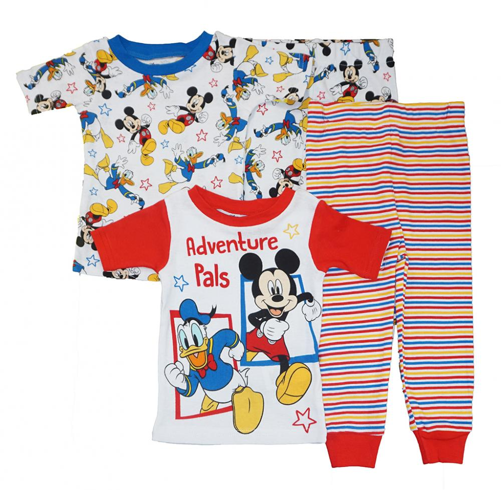 Mickey Mouse Toddler Boys Multi-Color 4pc Snug Fit Pajama Set Size 2T 3T 4T $42
