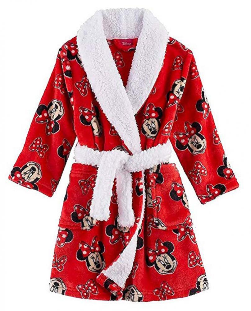 Disney Little Big Girls Red Minnie Mouse Plush Robe Size 4 6 8  42 ... d68905e23