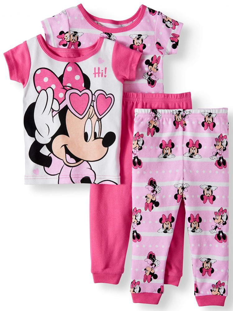 Disney Minnie Mouse Toddler Girls 4pc Snug Fit Pajama Pant Set Size 2T 3T 4T $44