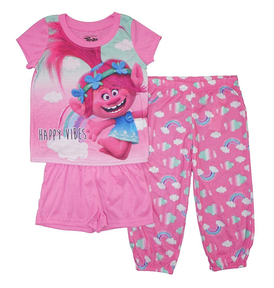 716c795c9 Trolls Girls Happy Vibes Three-Piece Pajama Set Size 4 6 8 10  40