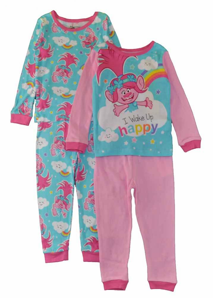 Trolls Toddler Girls Poppy L//S Four-Piece Pajama Pant Set Size 2T 3T 4T