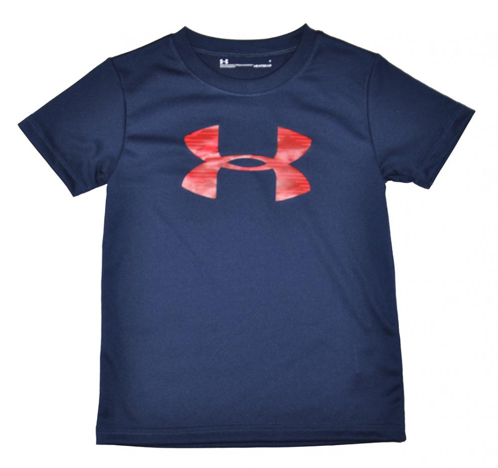 Under Armour Boys Navy Blue /& Red Dry Fit Logo Top Size 4 5 6