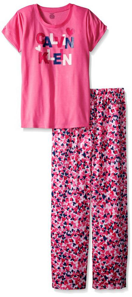 Calvin Klein Girls Pink 2pc Pajama Pant Set Size 5 6 7 8