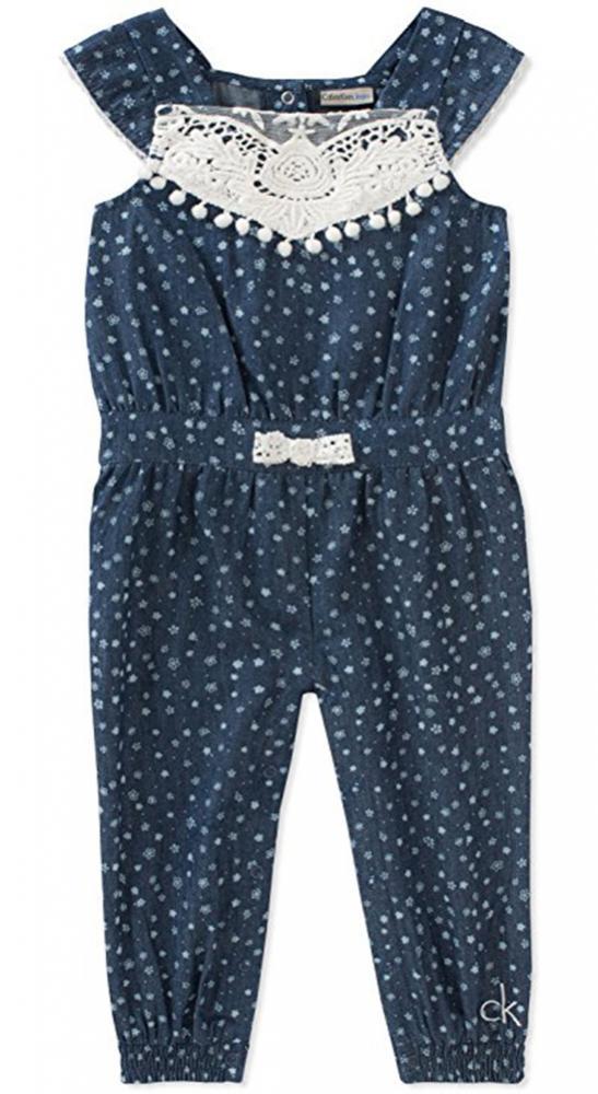 988f5f63f23c Calvin Klein Infant Girls Chambray Jumpsuit Size 3 6M 6 9M 12M 18M 24M  45