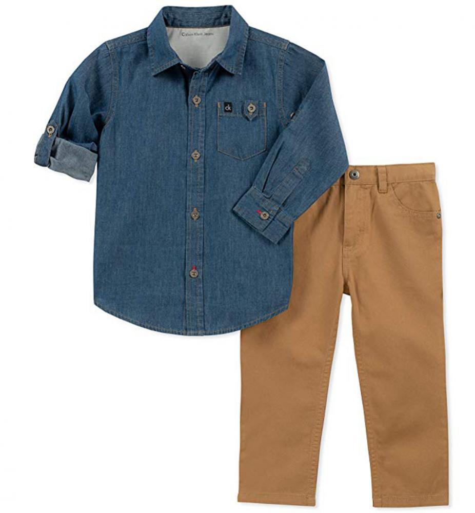 3bb43cf2 Calvin Klein Boys Blue Denim Shirt 2pc Pant Set Size 2T 3T 4T 4 5 6 ...