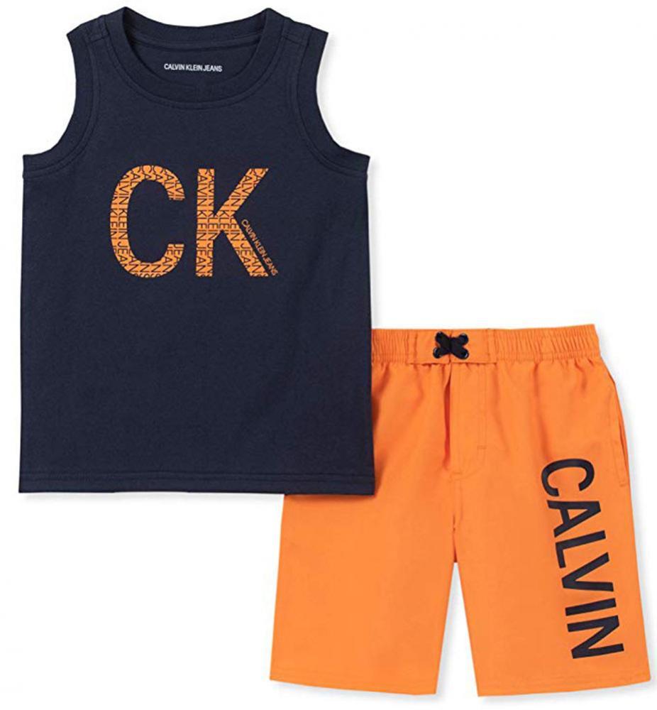 7469b9fd65 Calvin Klein Boys Navy & Orange 2pc Board Short Set Size 2T 3T 4T 4 ...