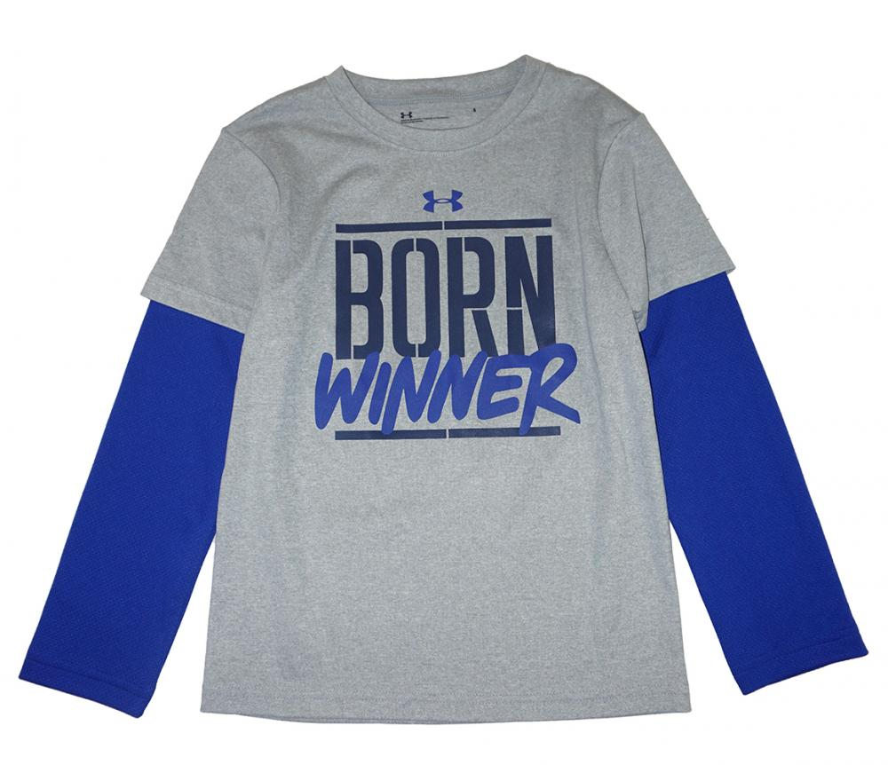 Under Armour Boys S//S Red Born Hustlin/' Dry Fit Top Size 5