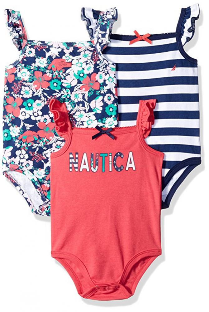 Lucky Brand Infant Girls 5 Pack Coral /& Turquoise Bodysuits Size 0//3M 3//6M 6//9M