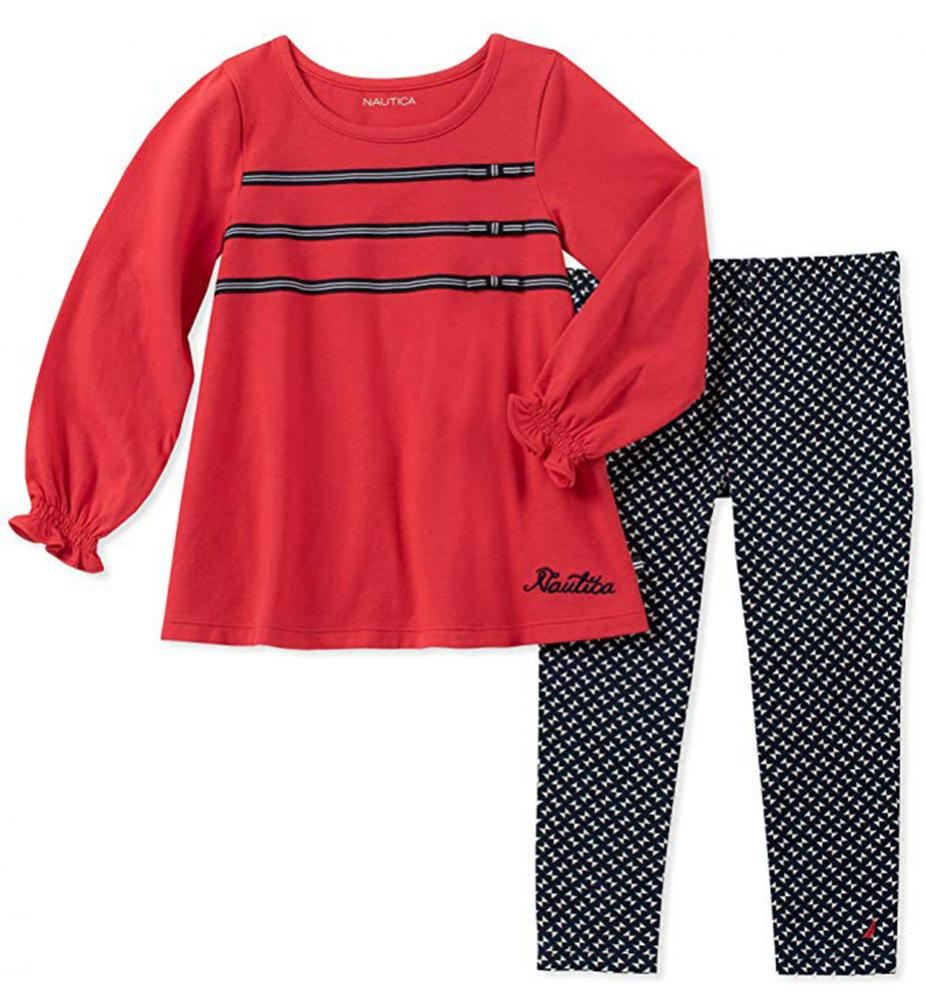 Nautica Girls Red Tunic 2pc Legging Set Size 2T 3T 4T 4 5 6 6X