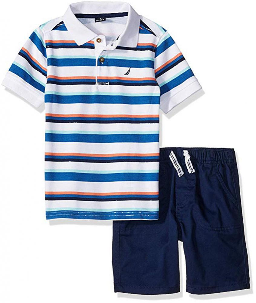 Nautica Boys Aqua Polo 2pc Short Set Size 2T 3T 4T 4 5 6 7 $55