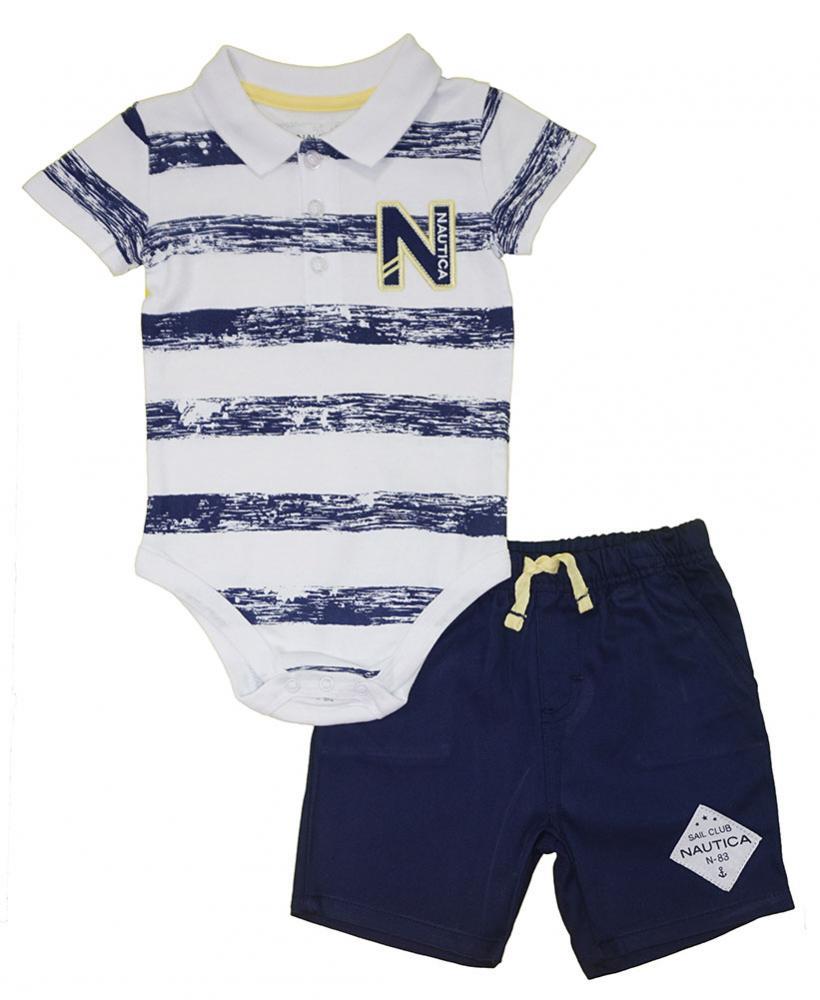 Nautica Infant Boys Striped Polo 2pc Short Set Size 3//6M 6//9M 12M 18M 24M $50