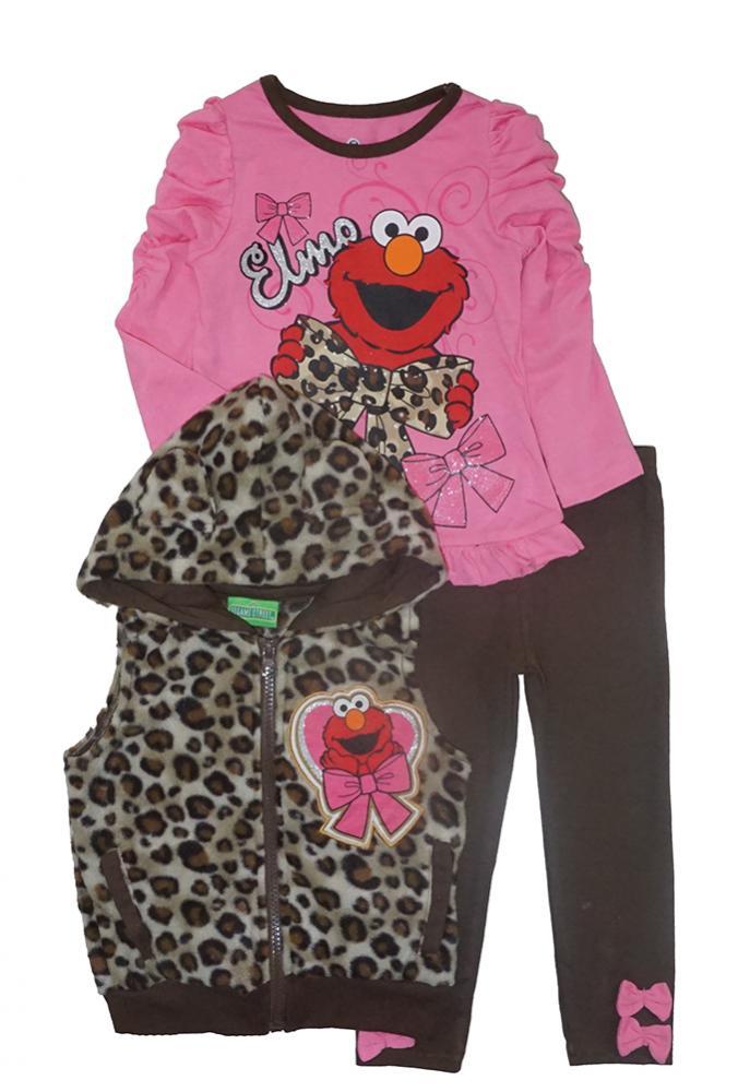 795f23df36fde Sesame Street Girls Elmo Fluffy Vest 3pc Legging Set Size 2T 3T 4T ...