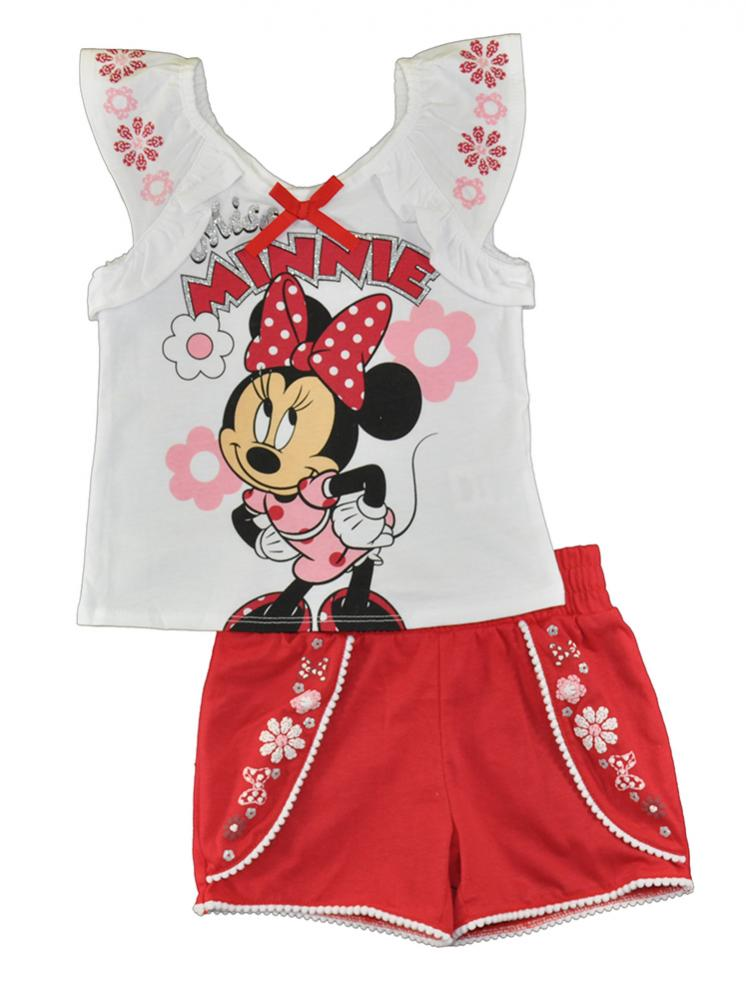 Minnie Mouse Girls Pink Two-Piece Short Set Size 4 5 6 6X