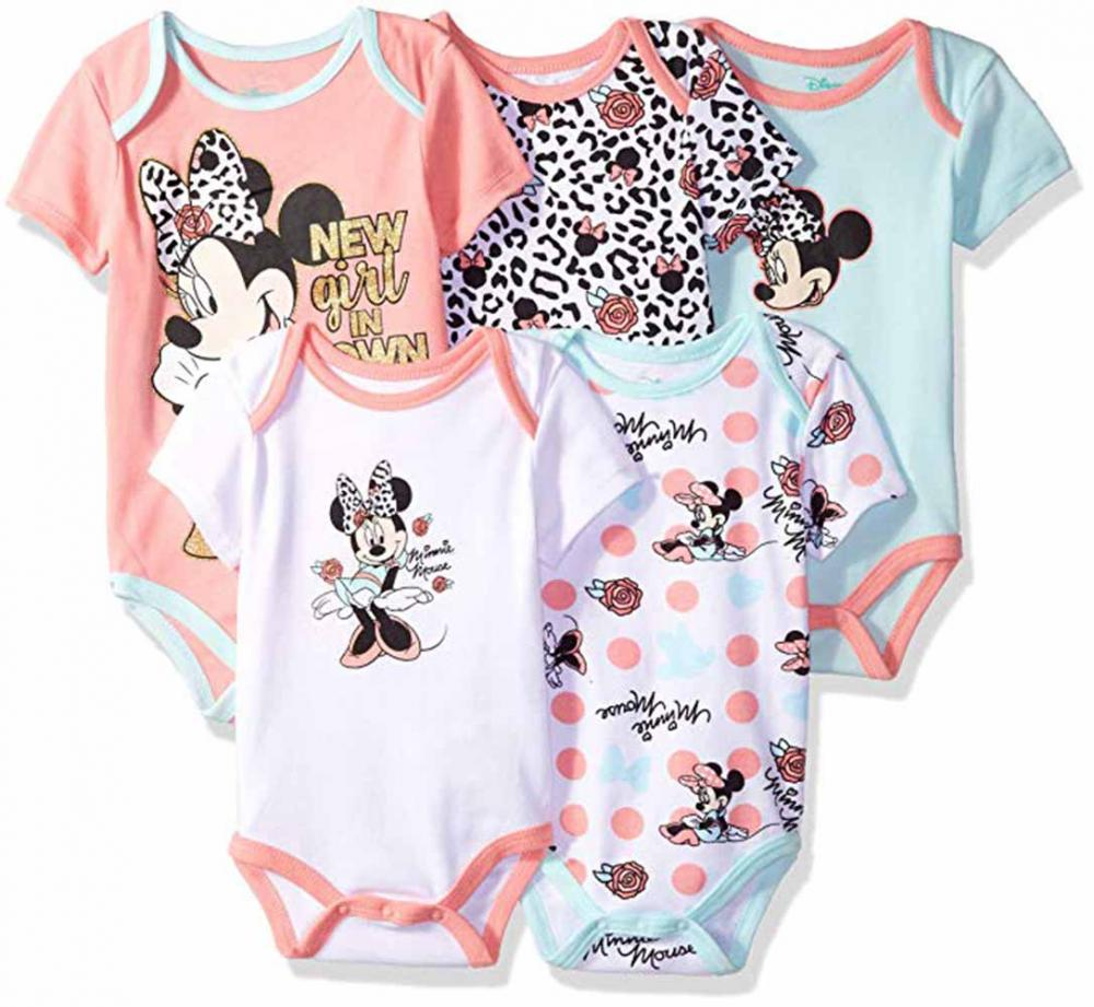 Mickey Mouse Baby Boys Grow with Me Bodysuits /& 12 Monthly Stickers Size NB//12M