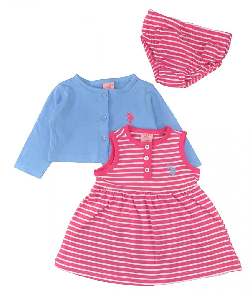 Us Polo Assn Baby Girls Cardigan 3pc Dress Set W Panty 3 6m 6 9m