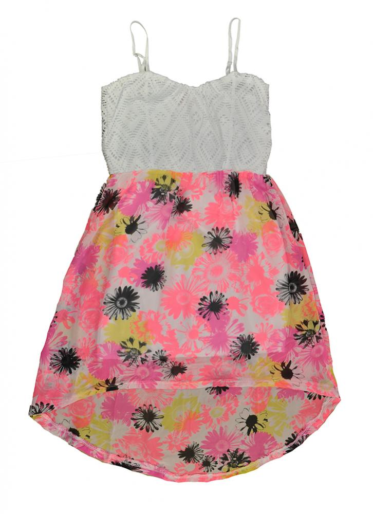 Sugah /& Honey Girls Blue Chambray Laced Hi /& Low Dress Size 4 5 6 6X $25.99