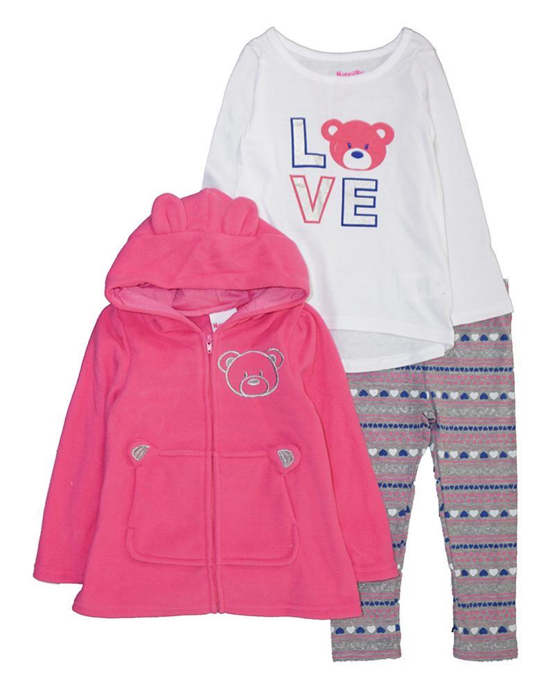 77cb5850 Nannette Toddler Girls Fleece Hoodie Three-Piece Legging Set Size 2T ...