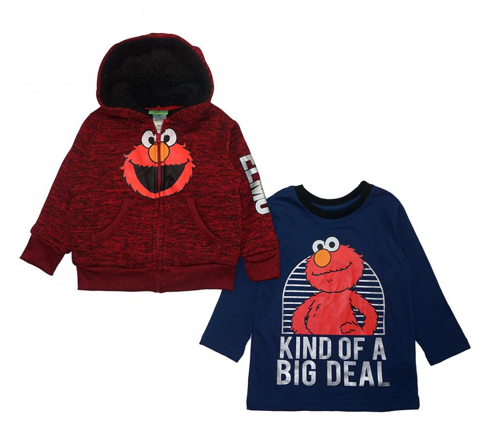 Asej details about sesame street toddler boys l/s sherpa hoodie & top 2pc set  size 2t 3t 4t