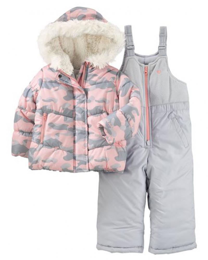 Osh Kosh B Gosh Infant Girls Pink Amp Gray Camo Snowsuit