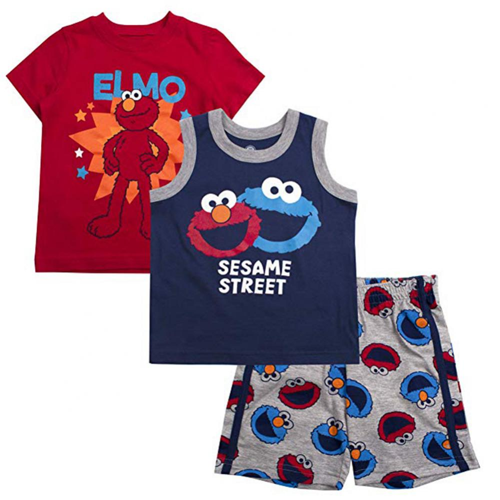 Sesame Street Toddler Girls 3pc Pajama Short Set Size 2T 3T 4T 5T