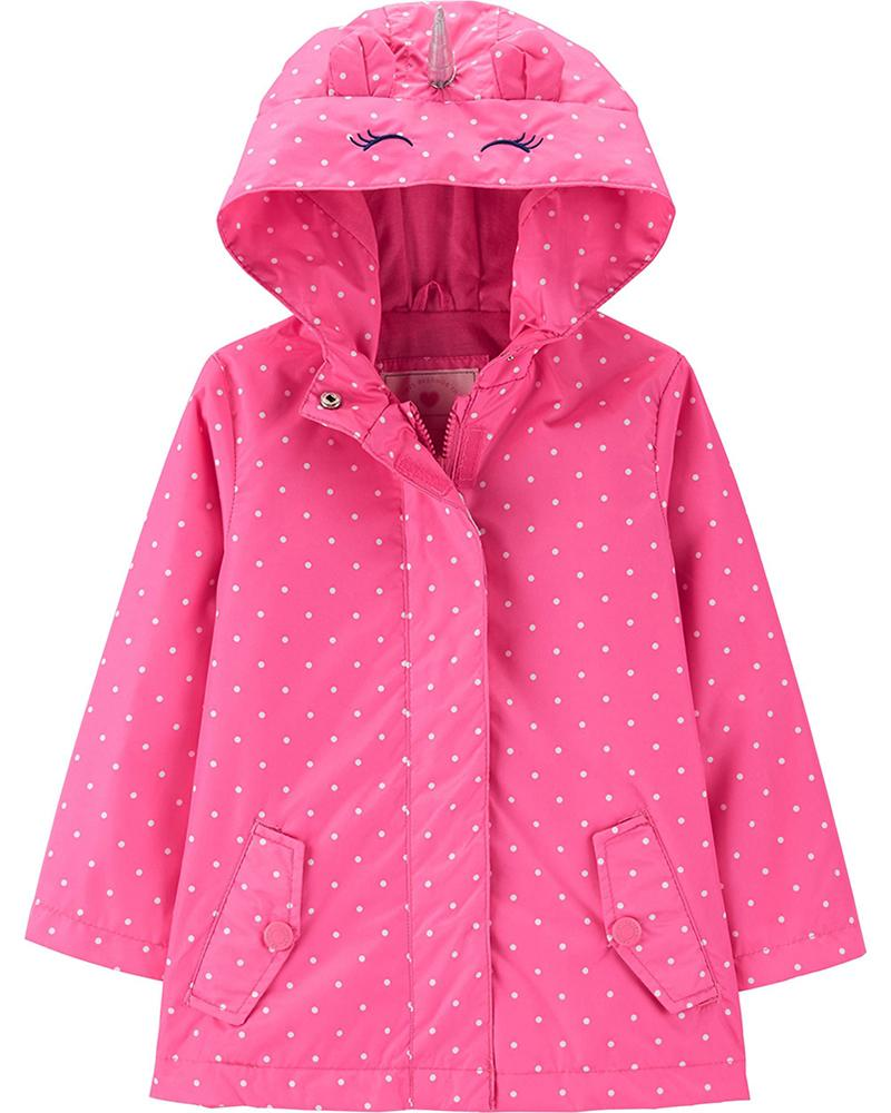 c079772034c1 Carter s Girls Pink Dot Unicorn Rainslicker Jacket Size 4 5 6 6X