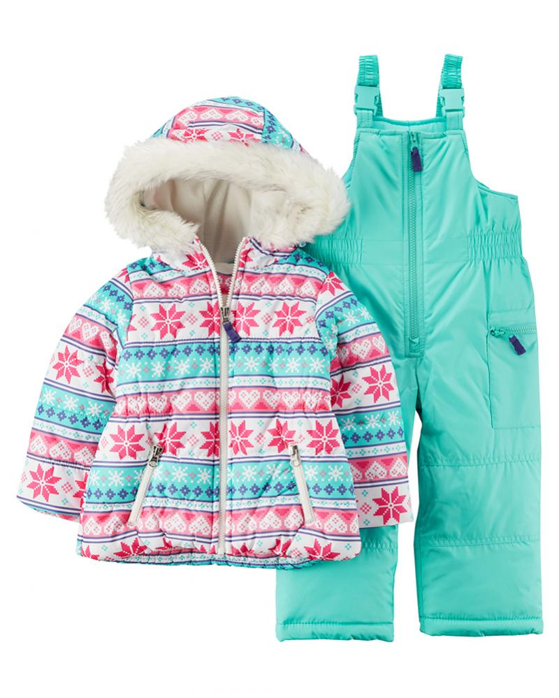 Carters Baby Monster Bedroom Shoes: Carter's Girls Pink & Turquoise Snowflake 2pc Snowsuit