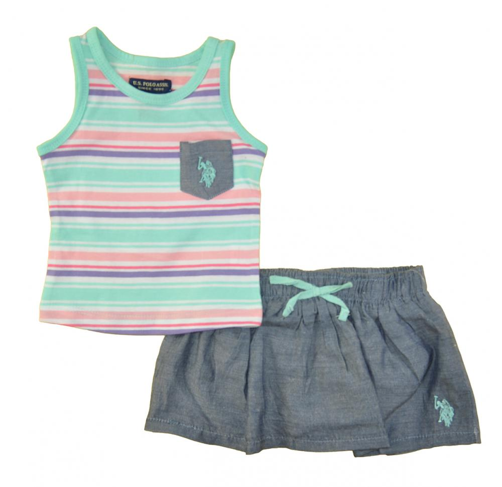 US Polo Assn Baby Girls/' 2pc Tank Top /& Chambray Skort 3//6M 6//9M 12M 18M 24M