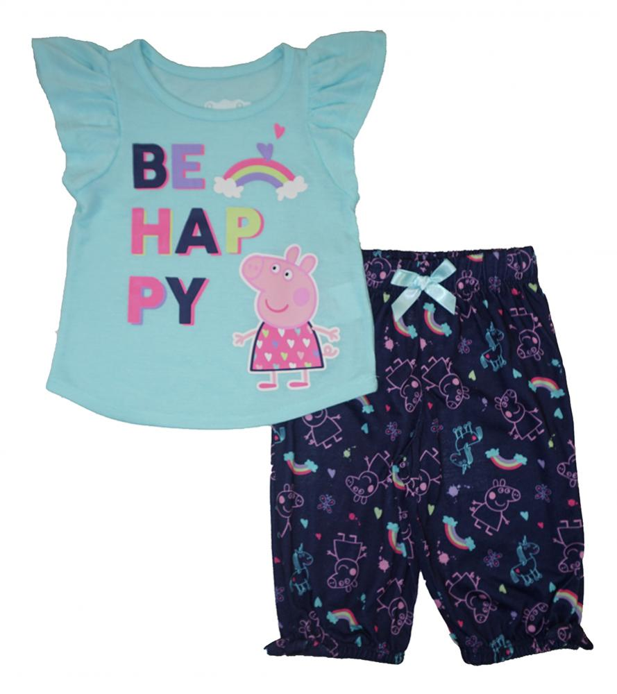Peppa Pig Toddler Girls Be Happy Two-Piece Capri Pajama Set Size 2T 3T 4T