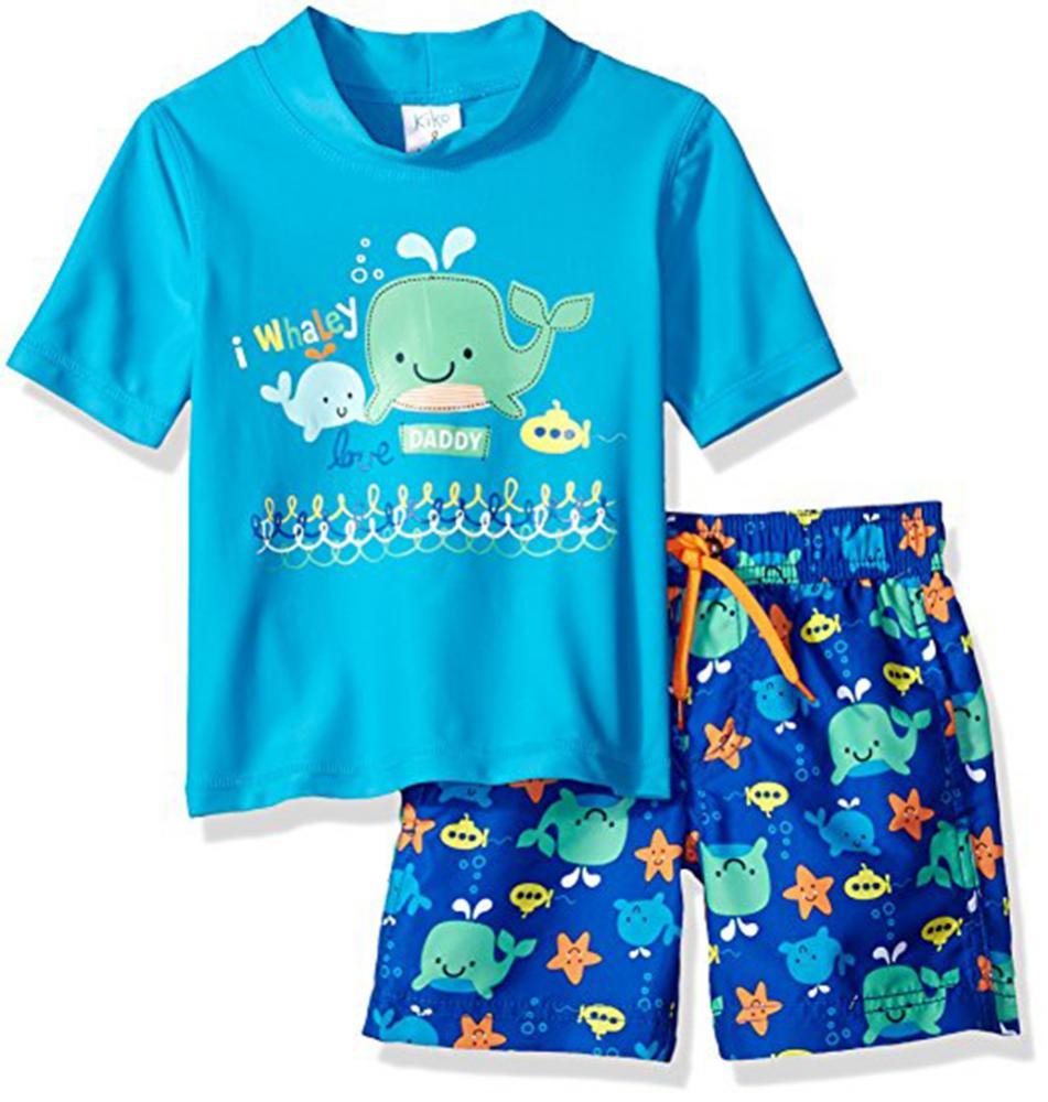 0cdc7fc1f65cd Kiko & Max Toddler Boys Blue Two-Piece Rashguard Swim Set Size 2T 3T ...
