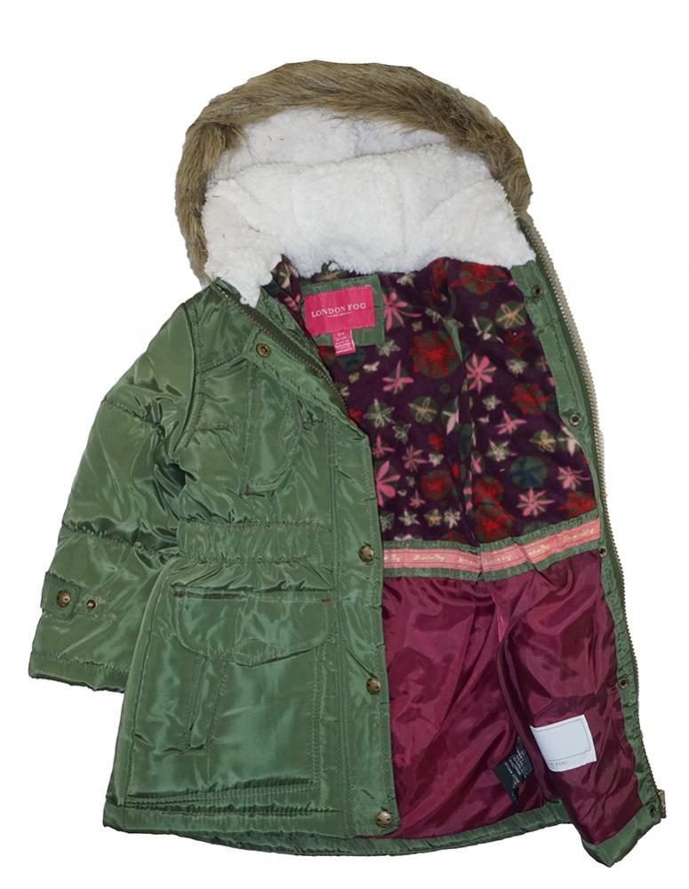 552d32d09 London Fog Girls Green Heavyweight Expedition Parka Coat Size 4 5 6 ...