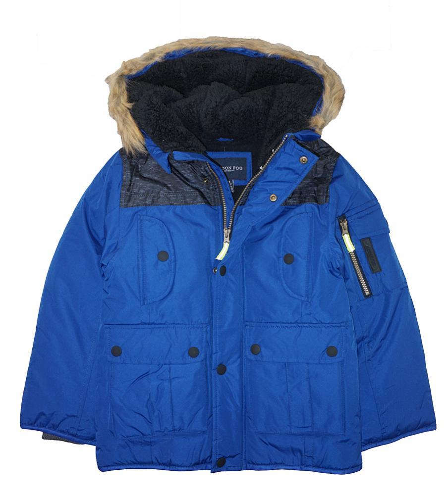 76ad09938b52 London Fog Big Boys Blue Heavyweight Parka Coat Size 8 10 12 14 16 ...