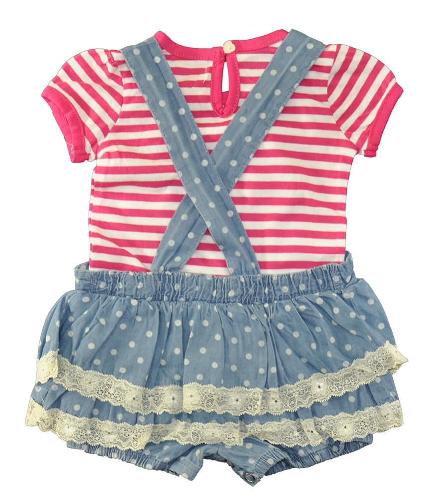03cd9311c26e US Polo Assn Infant Girls Striped Top   Chambray Romper Size 3 6M 6 9M  38