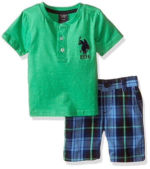 U.S Polo Assn Baby Boys S//S Orange Polo 2pc Short Set  3//6M 6//9M 12M 18M 24M