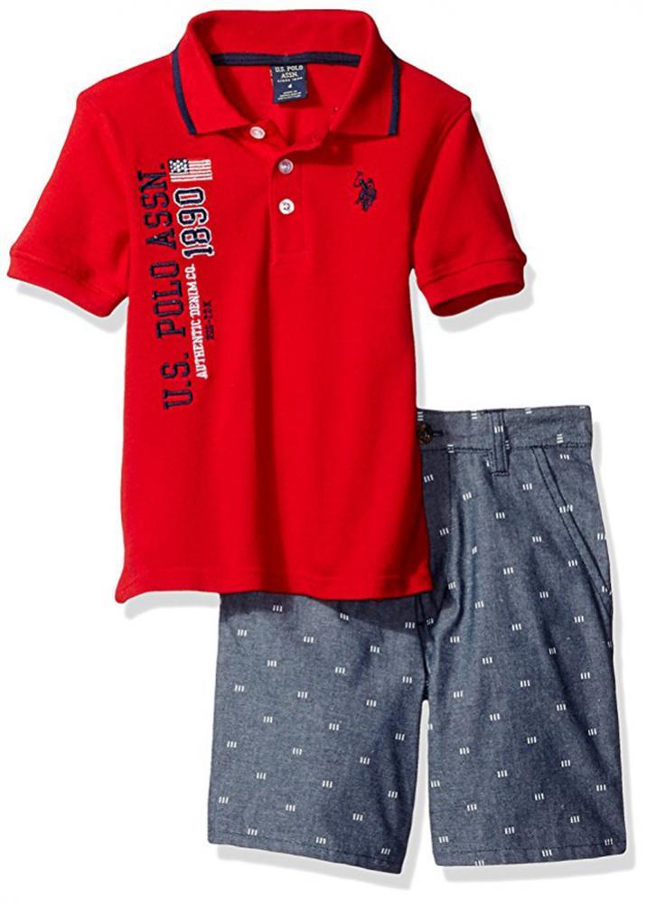 U.S Polo Assn Big Boys Classic Navy Polo 2pc Plaid Short Set Size 10 12 $44
