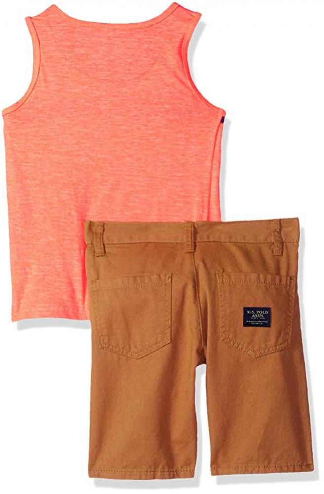 US Polo Assn Boys Checks Orange Woven Shirt Size 4 5//6 7 $34