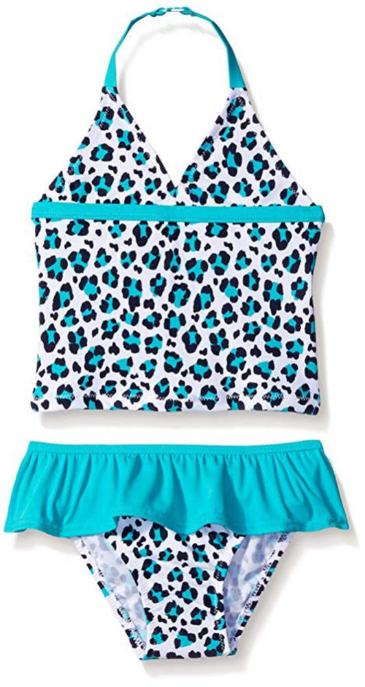 f54dc3aac56a5 Details about Osh Kosh Girls Turquoise Two Piece Halter Tankini Swimsuit  Size 4 5 6 6X