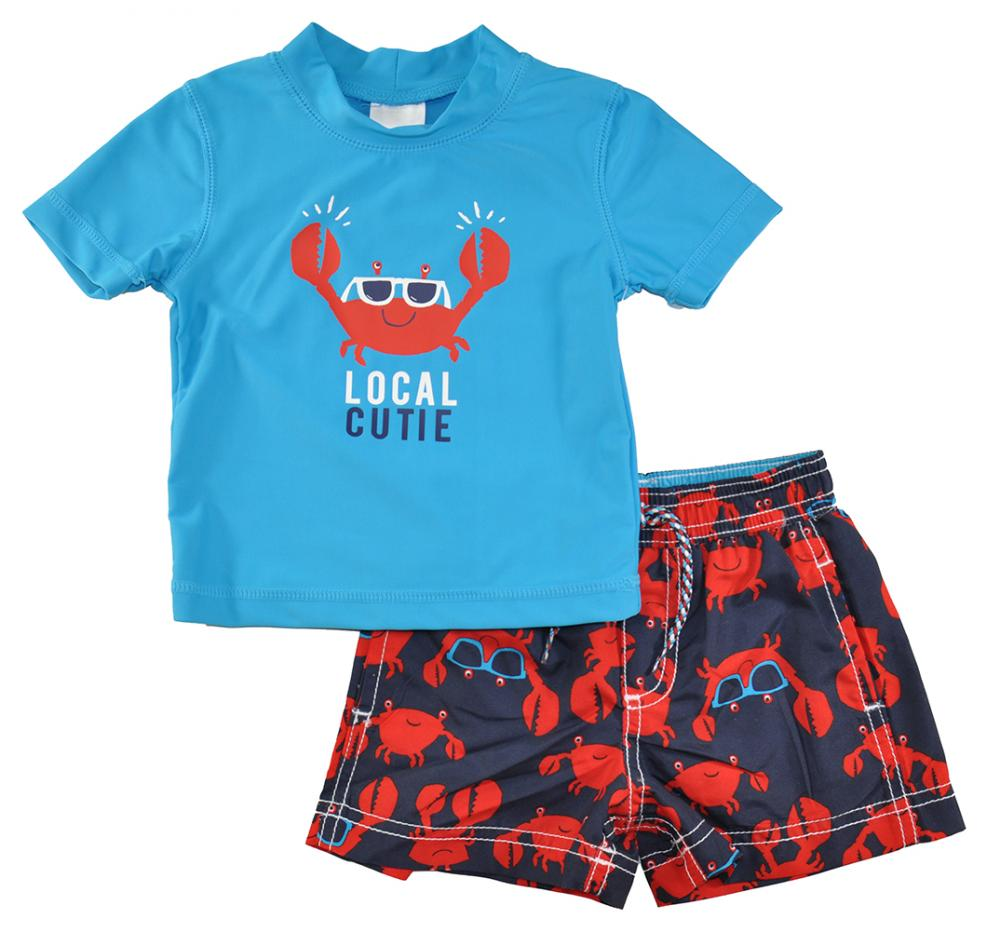Kiko /& Max Infant Boys Gray /& Green 2pc Rashguard Swim Set Size S M L
