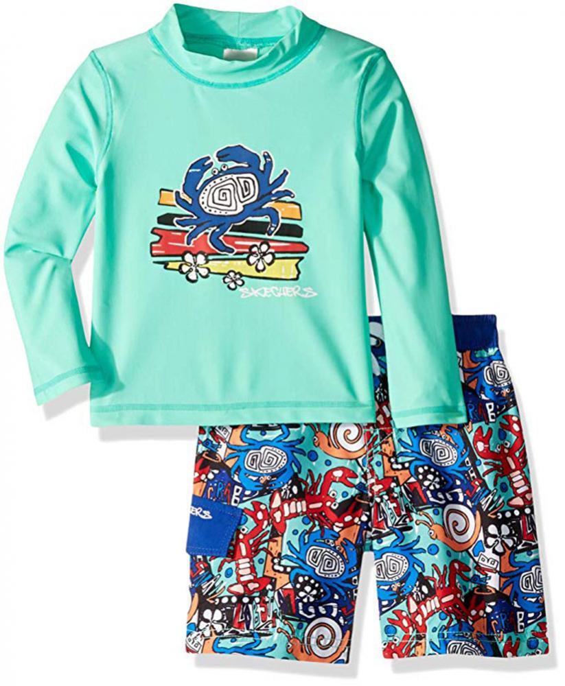 Skechers Boys Suit Set with Rashgaurd Swim Shirt,