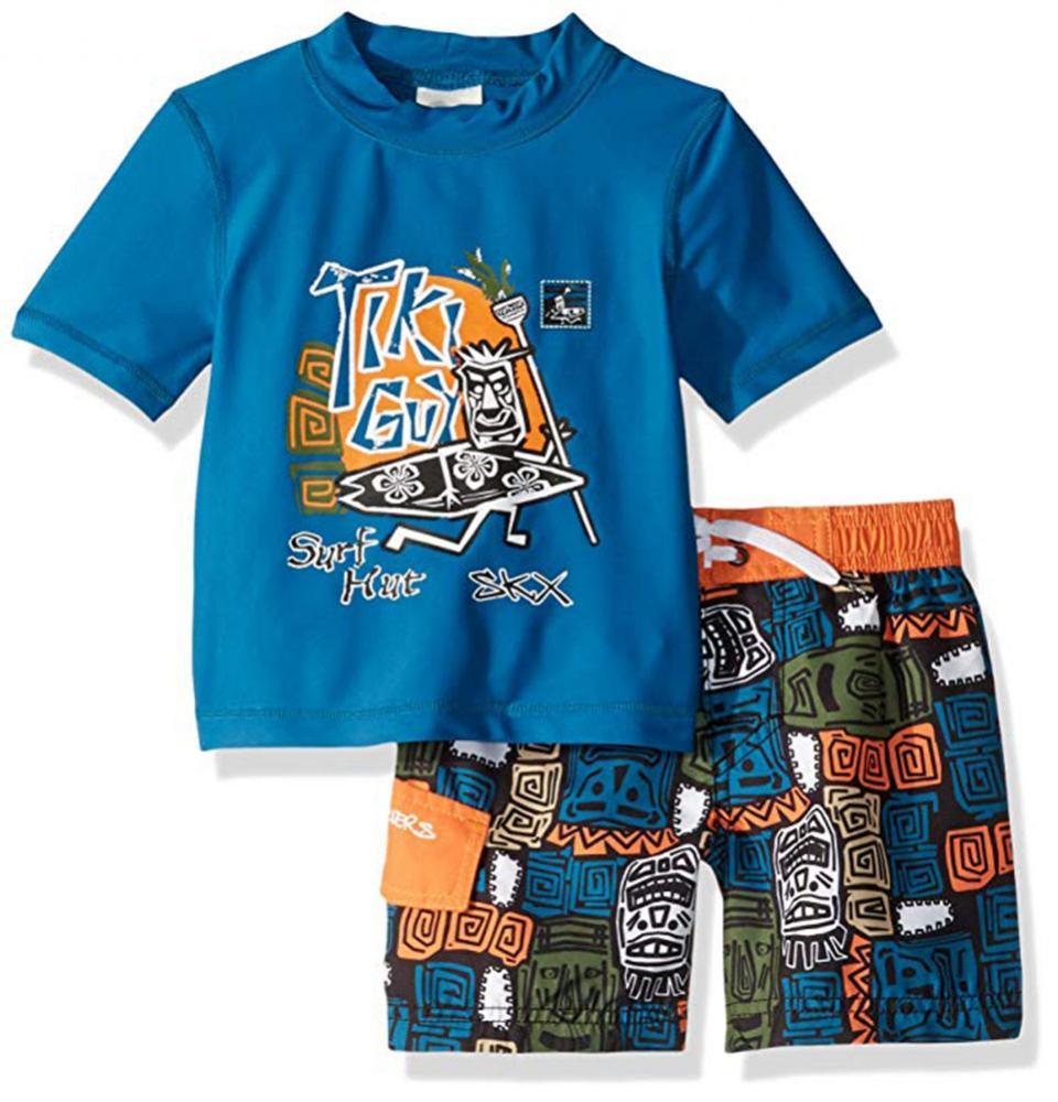 New Boy/'s Swim Rashguard Board Short Trunks Shirt Set NWOT XS 4 5 S 6 7